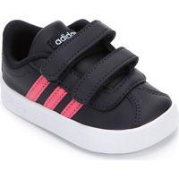 Tênis Infantil Adidas Velcro Vl Court - Unissex-Preto+Pink