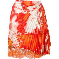 Msgm Asymmetric Pleated Skirt - Laranja