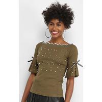 Blusa Lily Fashion Com Perolas Feminina - Feminino-Verde