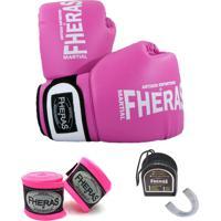 Kit Boxe - Fheras Luva Bandagem Bucal -14 Oz Rosa