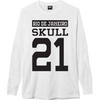 Camiseta Manga Longa Skull 21 Masculina - Masculino-Branco