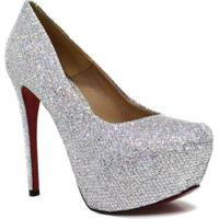 Scarpin Zariff Shoes Pump Glitter - Feminino-Cinza
