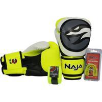 Kit Luva Boxe/Muay Thai Naja Colors + Bandagem + Protetor Bucal 12Oz - Unissex