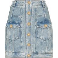 Balmain Saia Jeans Com Abotoamento - Azul