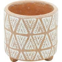 Vaso Cerã¢Mica Indian Paiting Branco/Barro Gde 14,5X14,5X14Cm - Bege - Dafiti