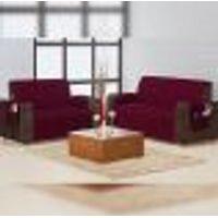 Protetor De Sofá Vinho Clássico Liso Microfibra 3 E 2 Lugares