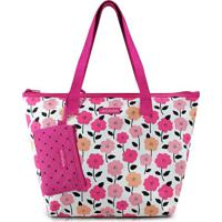 Bolsa Floral Com Carteira- Rosa Escuro & Branca- 27Xjacki Design