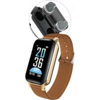 Smartwatch Com Fone De Ouvido Sdbc T89 Bluetooth 5.0 Com Case - Dourado