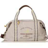 Bolsa Blue Bags Weekend Reciclada Bordado Fogo Feminina - Feminino-Off White