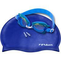 58abfd222 Netshoes  Kit Óculos + Touca + Protetor De Ouvido De Natação Infantil Poker  Cartoons - Unissex