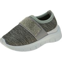 Tênis Jogging Joys Shoes Calce Fácil Enfeite Strass Cinza