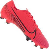 Chuteira De Campo Nike Mercurial Vapor 13 Academy Fg/Mg - Adulto - Coral/Preto