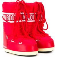 Moon Boot Kids Bota Com Logo E Cadarço - Vermelho