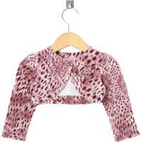 Bolero Cacau Kids Plush Animal Print Rosa