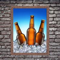 Quadro Decorativo Garagem Cervejas Litrão Geladas No Gelo Madeira - Médio