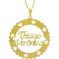 Gargantilha Horus Import Pingente Manuscrito Thiago Verônica Banho Ouro Amarelo