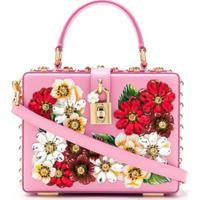 Dolce & Gabbana Bolsa Box Floral De Couro - Rosa
