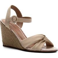 Sandália Shoestock Couro Nó Anabela - Feminino-Off White