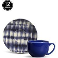 Conjunto 12Pçs Xícaras De Chá Porto Brasil Coup Indigo Azul/Branco