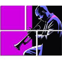 Conjunto De 4 Telas Decorativas Estilo Ilustração Músico Trompete - Montada: 82X102Cm (A-L) Unico