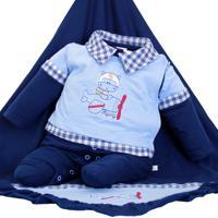Saída De Maternidade Mydouu Aviador Luvas E Boné Marinho