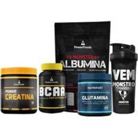 Kit Monster Albumina 500G +Bcaa120Cáps+ Power Creatina 300G + Power Glutamina 300G E Coq 700Ml - Unissex