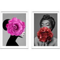 Quadro 67X100Cm Ágda Mulher Com Flores Rosa E Vermelha Nórdico Moldura Branca Com Vidro