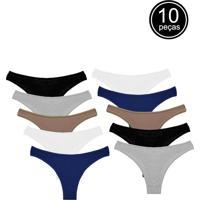 Kit Com 10 Calcinhas Conforto Part.B Fio Dental Sortidas - Azul Marinho/Bege/Branco/Cinza/Multicolorido/Preto - Feminino - Algodã£O - Dafiti