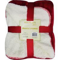 Manta Livorno- Vermelho Escuro & Off White- 125X150Cniazitex