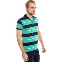 Camisa Polo Aleatory Listrada Brow Masculina - Masculino-Verde