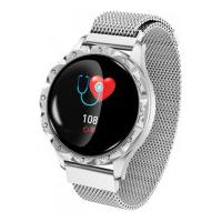 Relógio Smartwatch D18 Com Pulseira De Metal Feminino - Prata