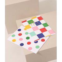 Kit De 2 Blocos De Papel Estampados Geométricos Branco