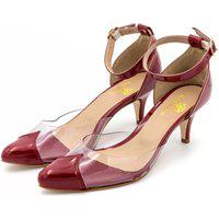 Sapato Feminino Scarpin Salto Baixo Em Verniz Vermelho Com Transparência Lançamento