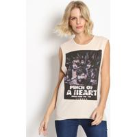 "Blusa ""Pinch Of A Heart""- Bege Claro & Preta- Sommersommer"