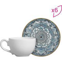 Conjunto De Xícaras De Chá Floral- Azul Claro & Branco