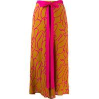 Alysi Abstract-Print Silk Skirt - Marrom