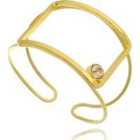Bracelete Geo Vazado Com Cristal Whisky Lua Mia Joias - Artesanal Folheada A Ouro 18K Feminino - Feminino-Dourado