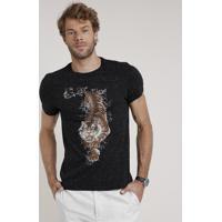 Camiseta Masculina Slim Fit Tigre Manga Curta Gola Careca Preta