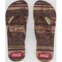 Chinelo Coca Cola Western Masculino - Masculino-Marrom