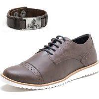 Sapato Social Masculino Oxford Form'S + Pulseira Marrom