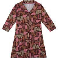 Camisola Estampada Animal Em Viscose