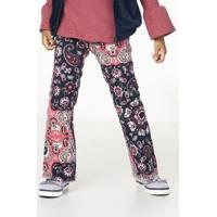 Calça Infantil Menina De Sarja Com Elastano Flare Estampada Puc