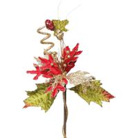 Flor Artificial Decoração Natal Poinsetia Galhos Glitter Vermelha