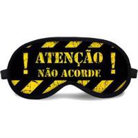Máscara De Dormir Tritengo Atenção - Unissex-Preto+Amarelo