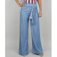 Calça Jeans Feminina Pantalona Com Amarração Frontal Azul Claro