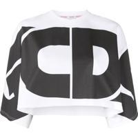 Gcds Blusa Cropped Com Estampa De Logo - Branco