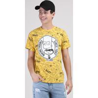 Camiseta Juvenil Bart Simpsons Estampada Manga Curta Amarela