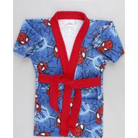 Roupão Infantil Atoalhado Estampado Homem Aranha Azul