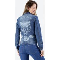 Jaqueta Feminina Jeans Estampa Tigre Atrás Marisa