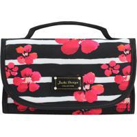 Nécessaire Floral- Preta & Pink- 12X23X9Cm- Jackjacki Design
